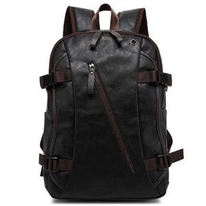 Mens Backpack PU Leather Laptop Backpack